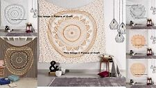 Indian Wall Hanging Queen Tapestry Gold Silver Ombre Mandala Bedspread Dorm Deco