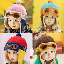 Baby Winter Earflap Toddler Girl Boy Kids Pilot Aviator Cap Warm Soft Beanie Hat