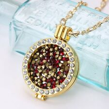 DIY Colorful Natural Stone Coin My Disc Locket Pendant Necklace Chain Jewelry
