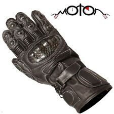 Buffalo Leather Waterproof Winter Thermosport Motorcycle Gloves - Black