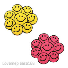Happy Smile Smiley Yellow Pink Face Icon Embroidered Iron on Patch Patches Jeans