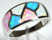 Multicolor Pink Blue White Fire Opal Inlay 925 Sterling Silver Ring Size 5-9