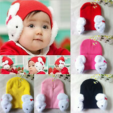 Kids Baby Infant Toddler Winter Ear Flap Warm Hat Beanie Cap Crochet Rabbit Hat