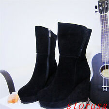 Women Lady Super High Wedge Heel Platform Mid Calf Boots Shoes Black Suede Size