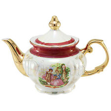 Porcelain Teapot with antique painting & maroon band, antique painting, 24K gold