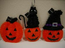 New (1) HALLOWEEN BLACK CAT PUMPKIN TINSEL Hanging Wall Décor Select Styles