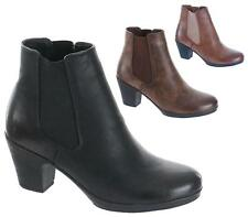 WOMENS LADIES CHELSEA PLATFORM MID HIGH BLOCK HEEL ANKLE BOOTS SHOES SIZE
