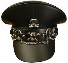 Steampunk leather look military style hat withbuckle band and skull detail