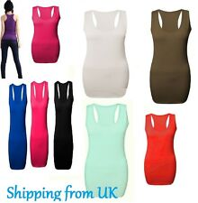 Ladies Womens Long Racer Back Bodycon Muscle Vest Gym Top All Sizes in Stock rcr