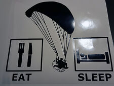 PARAMOTOR FOOT LAUNCH  POWERED PARAGLIDER VINYL PPG DECAL Eat Fly Sleep