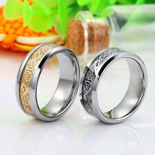 New Men Gold Silver Dragon Stainless Steel Rings Wedding Band Ring Charm