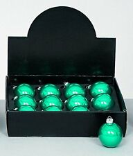 Pack Of 12 - 80mm Pearlised Teal Glass Baubles - Christmas Decorations - Tree Tr