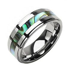 8mm Tungsten Band Abalone Shell Inlay Step Edge Men's Wedding Ring