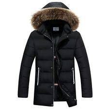 Vogue Men's Winter Down Cotton Padded Jacket Hooded Fur Collar Long Coat New