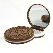 Hot Folding Pocket Chocolate Cookie Shaped Makeup Cosmetic Compact Mirror New
