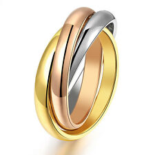 3 Colors Band Ring Ring Gold Silver Tone Rose-gold Stainless Steel Décor Gifts