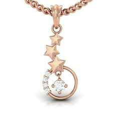 0.12ct Round Solitaire IJ SI Diamond Sparkling Pendant With Gold Star 10K Gold