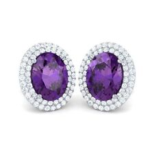 Purple Amethyst IJ SI Diamond Oval Shape Gemstone Stud Earrings Women 14K Gold