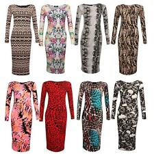 Womens Long Sleeve Aztec Skull Animal Print Stretch Bodycon Midi Maxi Dress 8-22