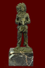 Bronze Sculpture Indian With Feathered Headdress Holdin Statue Figurine Figure