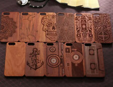 For Apple iPhone 7 7Plus 6S 5 Natural Carved Wood Wooden Hard Case Cover Protect
