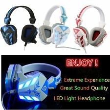 Universal Computer Head Mounted Gaming Headsets LED Light Headphobe With Mic F5