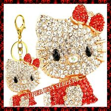 Rhinestone Crystal Red Hello Kitty Purse Charms Keychains Bling Accessories lot
