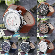 Waterproof Leather Band Mens Quartz Calendar On Dail Casual Business Watch W F5