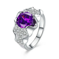 Elegant Purple Crystal Rhinestone Inlay New Finger Ring Size 7 8 Silver Jewelry