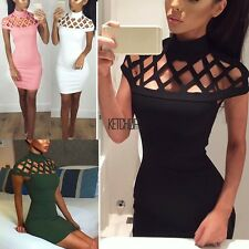 Women Choker High Neck Bodycon Ladies Caged Sleeves Mini Dress US Size 4-12 KECP