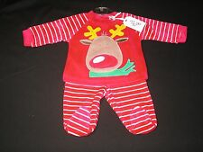 Baby Clothes Christmas Outfit 2 piece Boy/Girl Reindeer Red Zip Zap 1-6 months