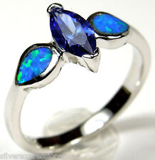 Tanzanite & Blue Fire Opal Inlay Solid 925 Sterling Silver Ring size 6, 7, 8
