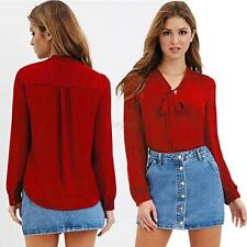 Fashion Loose Chiffon Tops Women's Long Sleeve Shirt Casual Bow Blouse Plus Size