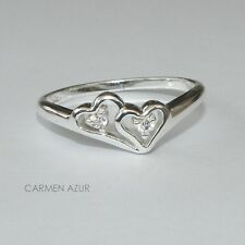 925 Sterling Silver Ring Cubic Zirconia Hearts Size L,O,Q Ladies, New Gift Bag