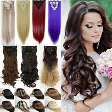 US Mega Thick Clip In Hair Extensions 8 Pieces Straight Wavy Ombre As Human fr4