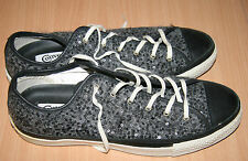 RARE Converse All Star WOOL & SEQUIN Black & Grey Womens Trainers Pumps Size 8