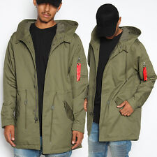 TheMogan Men's Military Utility Cotton Twill Hooded Anorak Jacket Fall Parka