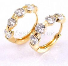fashion1uk Clear & Pink Simulated Diamond 18K Gold/Rose Plated Hoop Earrings