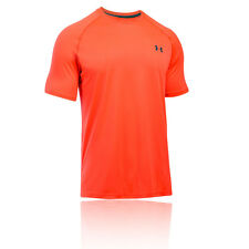 Under Armour Tech Mens Orange Short Sleeve Crew Neck Running T Shirt Tee Top