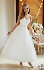 Stock New Tea length Lace White/Ivory Bridal Gowns Short Wedding Dress Size 6-18