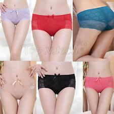 Sexy Women Comfortable Middle-Waisted Flower Lace Panties Sexy Bowknot Underwear