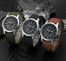 Mens Stainless Steel Canvas Military Army Sport Date Analog Quartz Wrist Watch