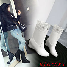 Women Lady Hidden Wedge Heel Mid Calf Boots Lace Trim Fashion Boots Classic Shoe