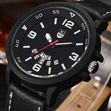 Fashion Mens Watches Leather Band Military Sport Analog Quartz Date Wristwatches