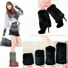 new black Girls Women Boot Cuff Fluffy Furry Faux Fur Leg Warmers Boot Toppers