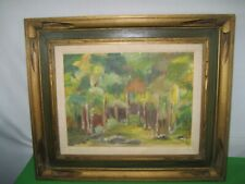Vintage Oil Painting on Canvas Board Titled TREES Artist Helen Campbell