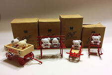 Teddy Bear Wagon, Sled, Rocker & Bench Collection Ornaments from Avon