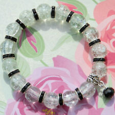 10mm CLEAR CRACKLE GLASS BEADED BLACK STRETCH CHARM BRACELETS MIXED SIZES