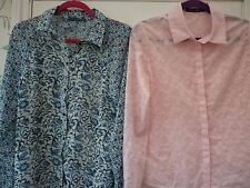 Size 12 Blue Bird Pink Floral Semi Sheer Long Sleeve Business Casual Blouse Top