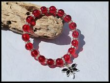 8mm CLEAR RED GLASS BEADED SILVER STRETCH CHARM BRACELETS MIXED SIZES & CHARMS
